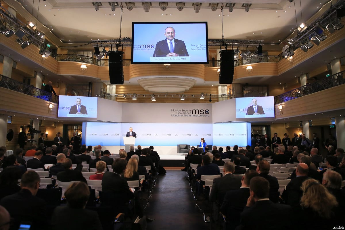 Turkish Foreign Minister Mevlut Cavusoglu addresses the delegates at the Munich Security Conference in Munich, Germany on February 19, 2017 [Ahmet Gumus - Anadolu Agency]