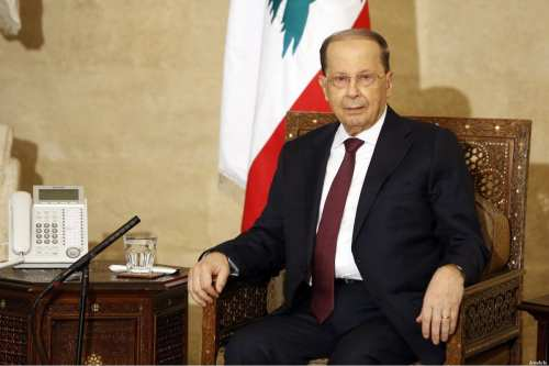 Lebanese President Michel Aoun at the government palace in Beirut, Lebanon on February 20, 2017. ( Ratib Al Safadi - Anadolu Agency )