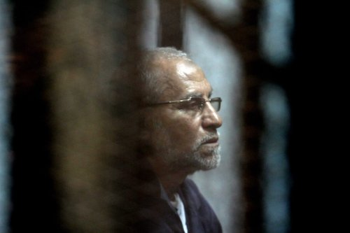 General Guide of the Egyptian Muslim Brotherhood Mohammed Badie at a court case in Egypt on 26 February 2017 [Moustafa El Shemy/Anadolu Agency]
