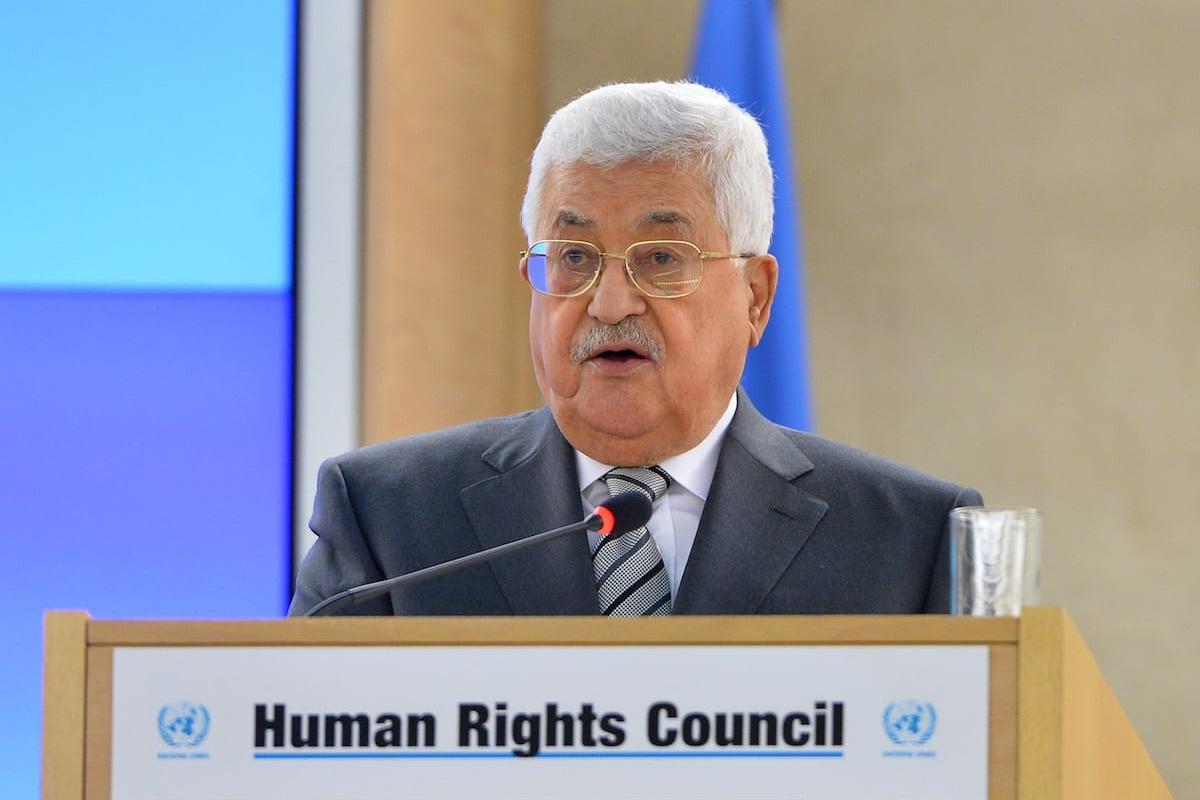 Palestinian President Mahmoud Abbas delivers a speech in Geneva, Switzerland on 27 February 2017 [Mustafa Yalçın/Anadolu Agency]