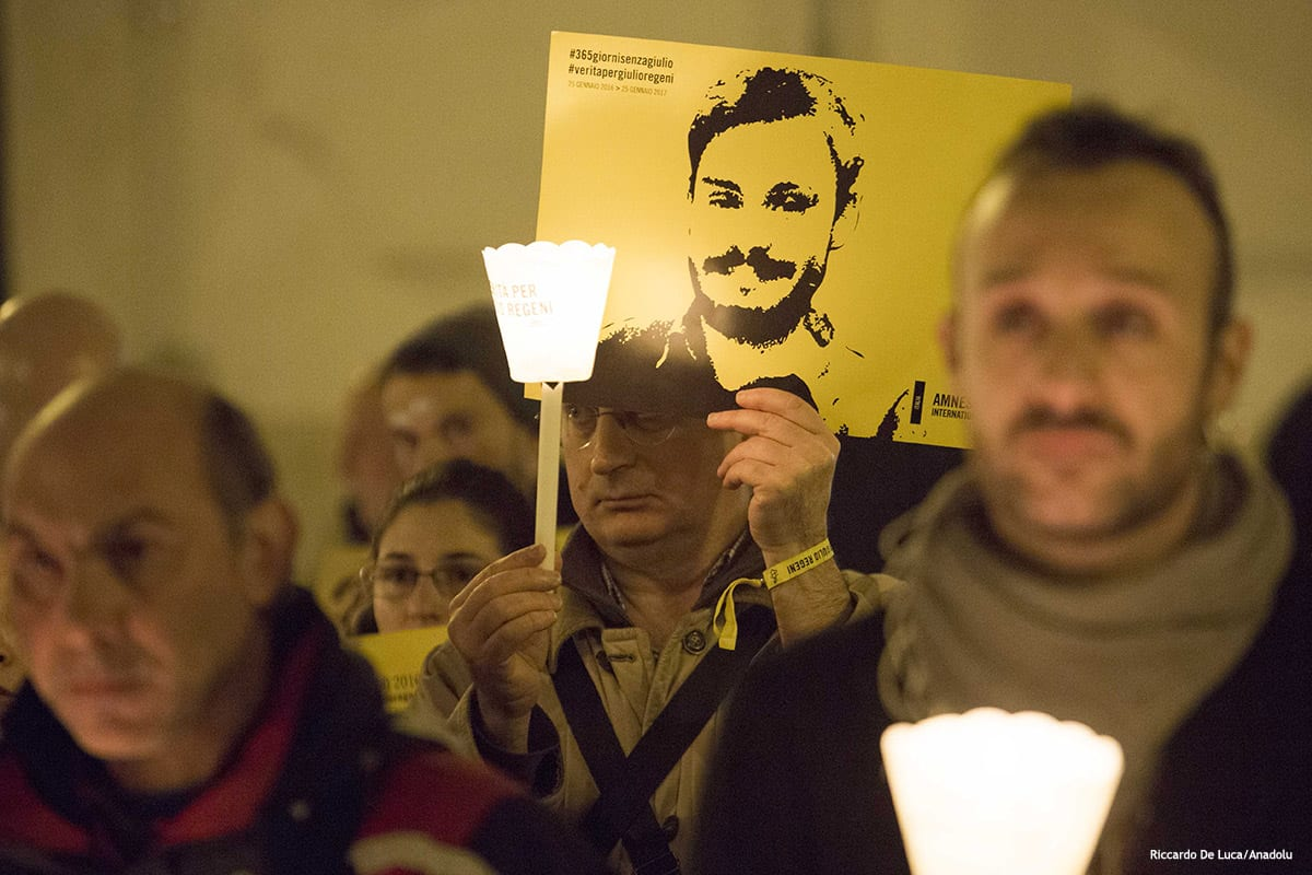 Image of the candlelight procession for Italian student Giulio Regeni in Rome, Italy [Riccardo De Luca/Anadolu]