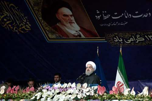 Image of Iranian President Hassan Rouhani delivering a speech to mark the anniversary of the Islamic revolution in Tehran, Iran on 10 February 2017 [Fatemeh Bahrami/Anadolu]