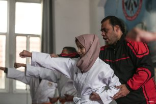 GAZA STRIP, GAZA- 13 year old Minnetullah al-Beytar is a lesson in why hindrance doesn't mean giving up. Blind but still fighting to get a black belt in Karate, Minnetullah is an inspiration