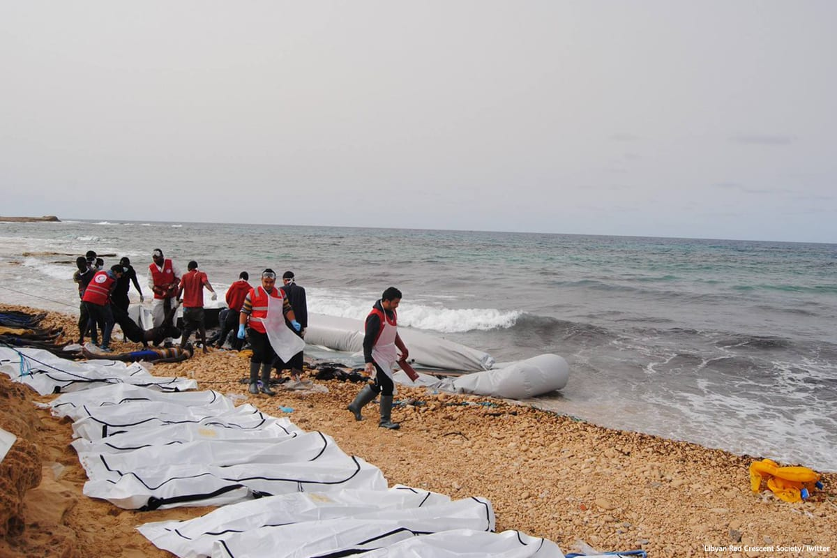 Image of the bodies of African migrants and refugees washed up on the shores of western Libya [Libyan Red Crescent Society/Twitter]