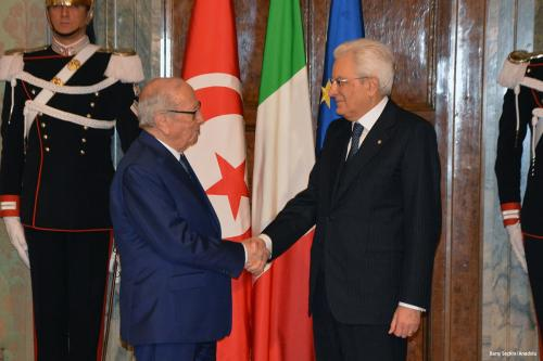 Tunisian President Beji Caid Essebsi (L) and Italian President Sergio Mattarella (R) hold a joint press in Rome, Italy on 8 February 2017 [Barış Seçkin/Anadolu]