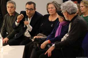 British politician Clare Short (centre) during a MEMO event to launch Former United Nations Special Rapporteur for Palestine Richard Falk's new book on 20 March 2017 [Jehan AlFarra/Middle East Monitor]