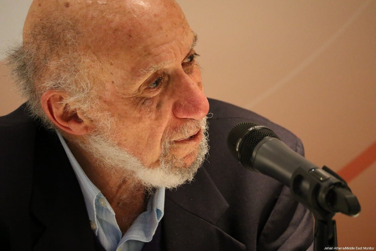 Former United Nations Special Rapporteur for Palestine Richard Falk on 20 March 2017 [Jehan AlFarra/Middle East Monitor]