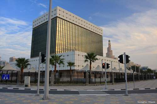 Image of Qatar's central bank in Doha, Qatar [TravelingOtter/Wikipedia]