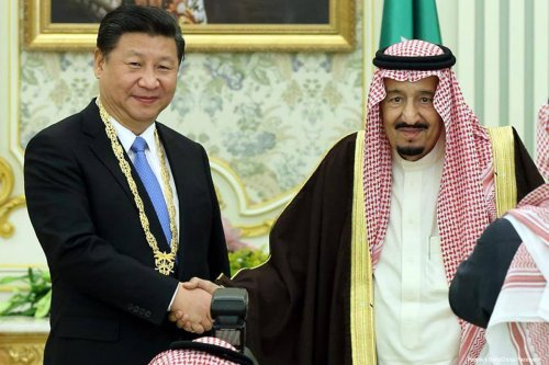 Image of China's president Xi Jinping with Saudi King Salman bin Abdulaziz [People's DailyChina/Facebook]