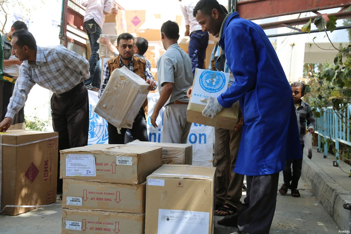 Image of UN medical and food aid in Taiz, Yemen, on 4 March 2017 [Abdulnasser Alseddik/Anadolu Agency]