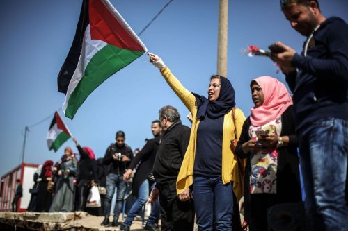 Palestinian women demonstrate to draw attention to Israeli blockade on Gaza, on the event as part of the International Women's Day, in Gaza City, Gaza on March 09, 2017. ( Mohammed Talatene - Anadolu Agency )