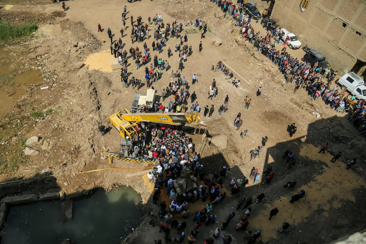 Stone parts of a huge statue, possibly symbolising Ramses II, are being unearthed after they were discovered at the ancient Heliopolis archaeological site in Cairo, Egypt, March 13, 2017 ( Ibrahim Ramadan/Anadolu Agency )