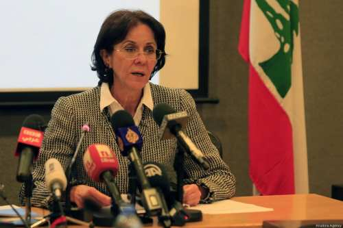 BEIRUT, LEBANON - MARCH 15: UN Under-Secretary General and ESCWA Executive Secretary Rima Khalaf delivers a speech during a press conference on a report in Beirut, Lebanon on March 15, 2017. (Ratib Al Safadi - Anadolu Agency)