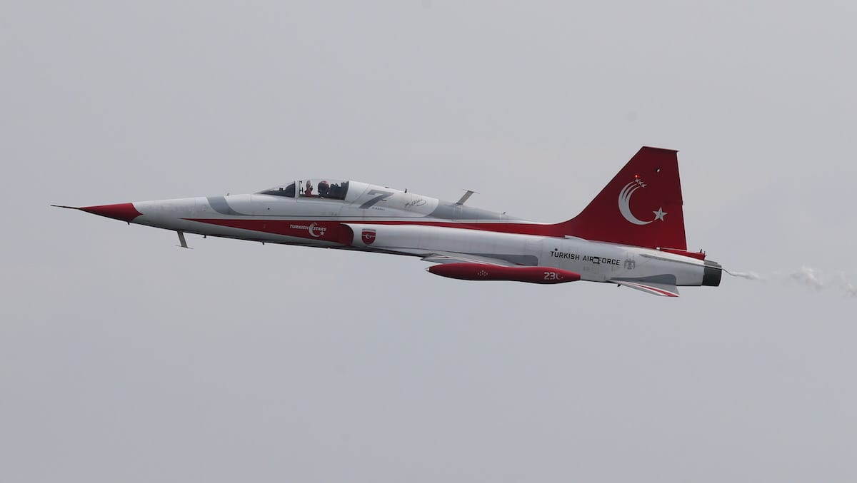 The Turkish Stars, the aerobatic demonstration team of the Turkish Air Forces and the national aerobatics team of Turkey, perform during the rehearsals of the ceremony which will be held for the 102nd Anniversary of Canakkale Victory, at Gallipoli Peninsula in Canakkale, Turkey on 16 March 2017. [Ali Atmaca - Anadolu Agency]