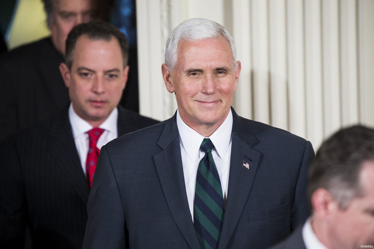 Vice President Mike Pence arrives for a joint press conference at the White House in Washington, United States on 17 March, 2017 [Samuel Corum/Anadolu Agency]
