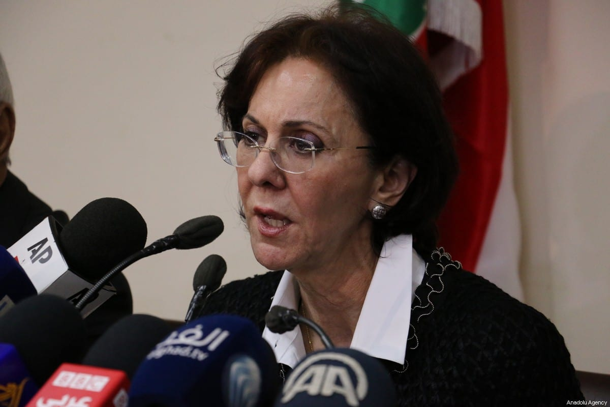 UN Under-Secretary General and ESCWA Executive Secretary Rima Khalaf speaks in Beirut, Lebanon, on 17 March 2017. Khalaf resigned under pressure from officials after an ESCWA report named Israel an 'apartheid' state [Muhammed Ali Akman/Anadolu Agency]