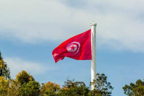 Tunisian flag is raised up to the highest flagpole on the 61st anniversary of Tunisia's independence during a ceremony at Belvedere Park in Tunis, Tunisia on 20 March, 2017 [Amine Landoulsi/Anadolu Agency]