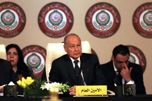 Secretary-General of the Arab League Ahmed Aboul Gheit (C) seen at the 28th Arab League Summit Preparatory Meeting of Permanent Representatives in Amman, Jordan on March 26, 2017 [Salah Malkawi / Anadolu Agency]