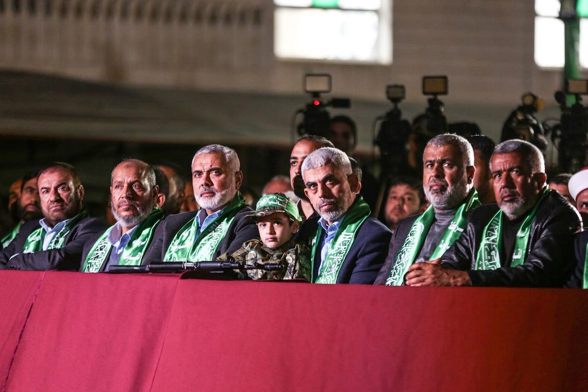 Leader of Hamas in the Gaza Strip Yahya Sinwar (3rd R) and senior political leader of Hamas Ismail Haniyeh (4th R) attend the memorial ceremony held for Mazen Fuqaha, who was killed by unknown persons, in Gaza City, Gaza on March 27, 2017 [Mustafa Hassona / Anadolu Agency]