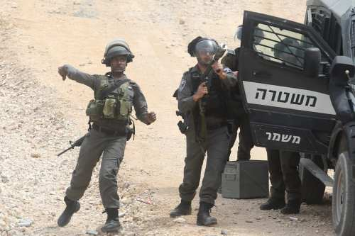 Israeli forces disrupt a Palestinian protest which demonstrated against the Israeli occupation over Palestinian lands on the 41st Palestinian Land Day in Bethlehem, West Bank on March 30, 2017. ( Issam Rimawi - Anadolu Agency )