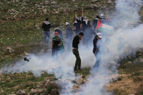 """Israeli soldiers harass Palestinians, who gathered for a tree planting event on """"Palestinian Land Day"""", in the Madma village of Nablus, West Bank on March 30, 2017. ( Nedal Eshtayah - Anadolu Agency )"""