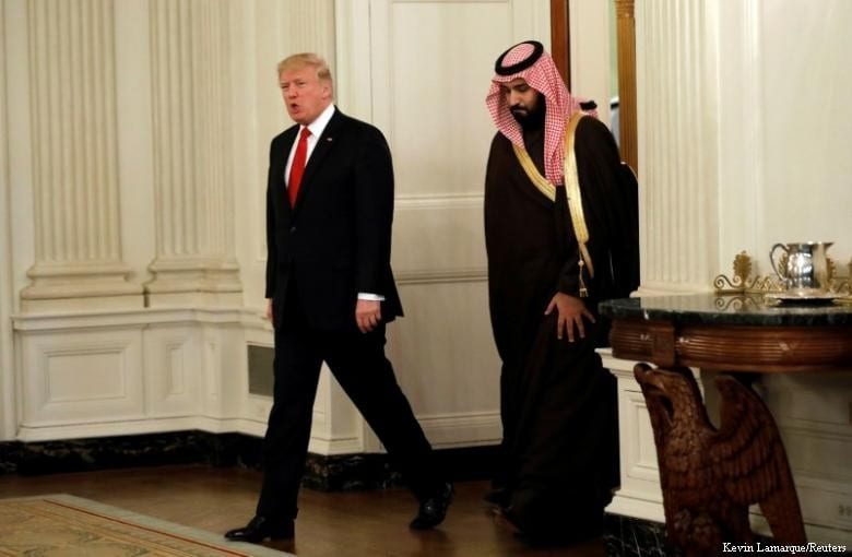 Saudi Arabia's Deputy Crown Prince Mohammed bin Salman and U.S. President Donald Trump on 14 March, 2017 [Kevin Lamarque/Reuters]