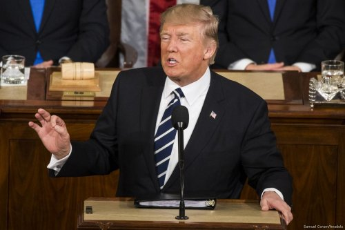 US President Donald Trump addresses a joint session of the US Congress on 28 February 2017 in Washington, US [Samuel Corum/Anadolu Agency]