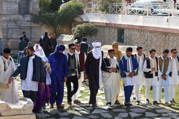 """TRIPOLI, LIBYA- Libyans wearing traditional clothes attend an event to mark the """"National Day of Traditional Dress"""" at es-Suheda Square"""