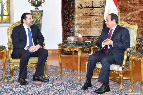 Prime Minister of Lebanon Saad Hariri (L) meets with President of Egypt Abdel Fattah el-Sisi (R) in Cairo, Egypt on 22 March 2017 [Ibrahim Ramadan/Anadolu]