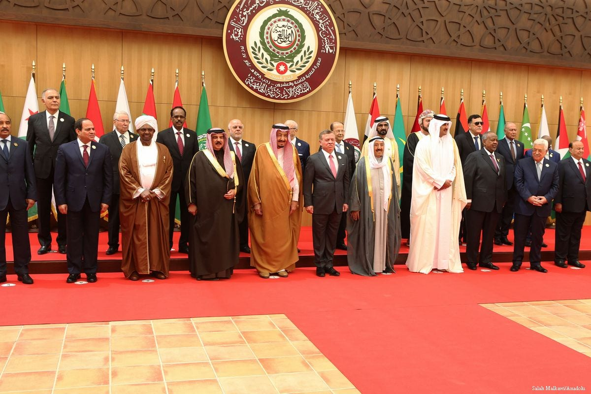 Members of the Arab League pose for a photo during the 28th Arab League Summit in Amman, Jordan on 29 March 2017 (Salah Malkawi/Anadolu Agency)