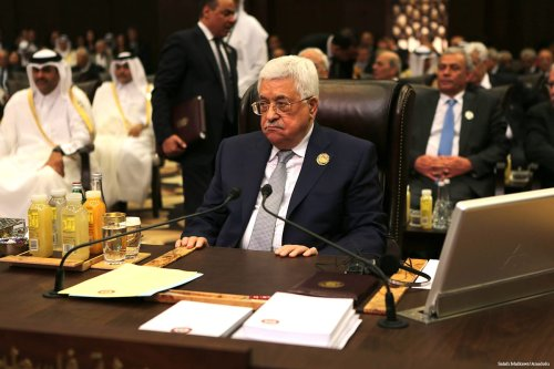 Palestinian President Mahmoud Abbas attends the 28th Arab League Summit in Jordan on 29 March 2017 [ Salah Malkawi/Anadolu]