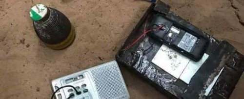 Image of the dismantled explosive device (IED) put in front of MP's house in Somalia [Twitter]]