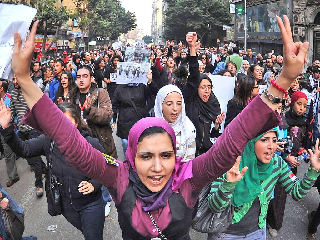 Egyptian women in Cairo protest against violence against women [EPA]