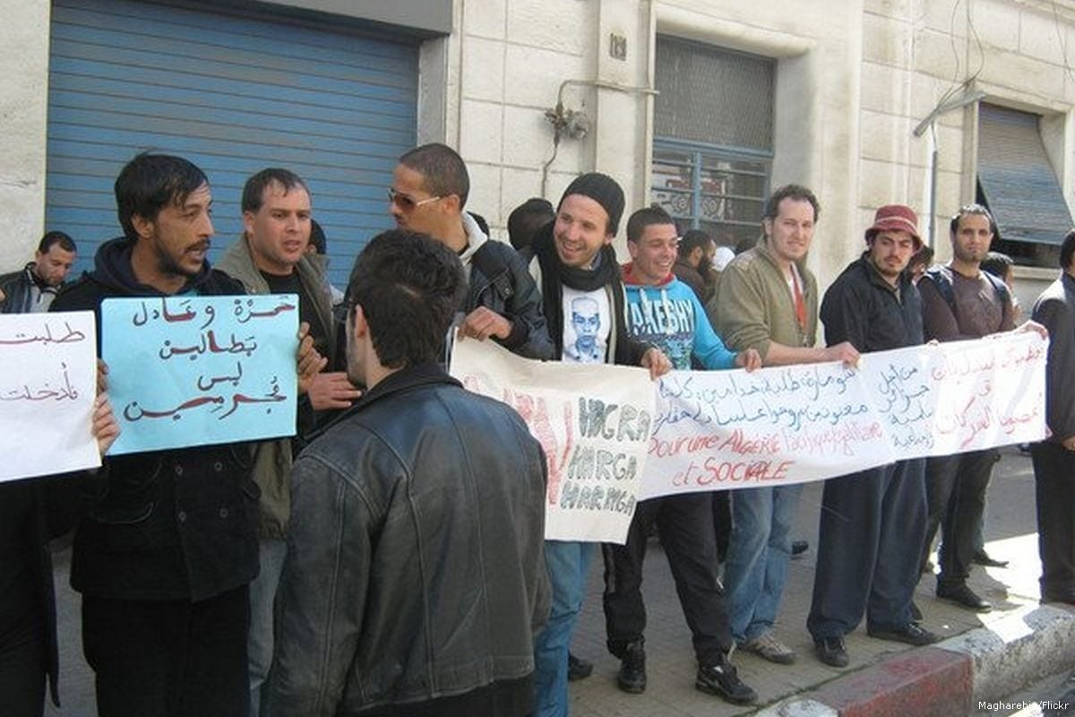 Image of a protest in Algeria calling for better jobs for young people [Magharebia/Flickr]