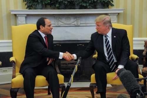 US President Donald Trump meets Egyptian President Abdel Fattah el-Sisi (L) at the White House in Washington, United States on April 3, 2017. ( Presidency of Egypt / Handout - Anadolu Agency )