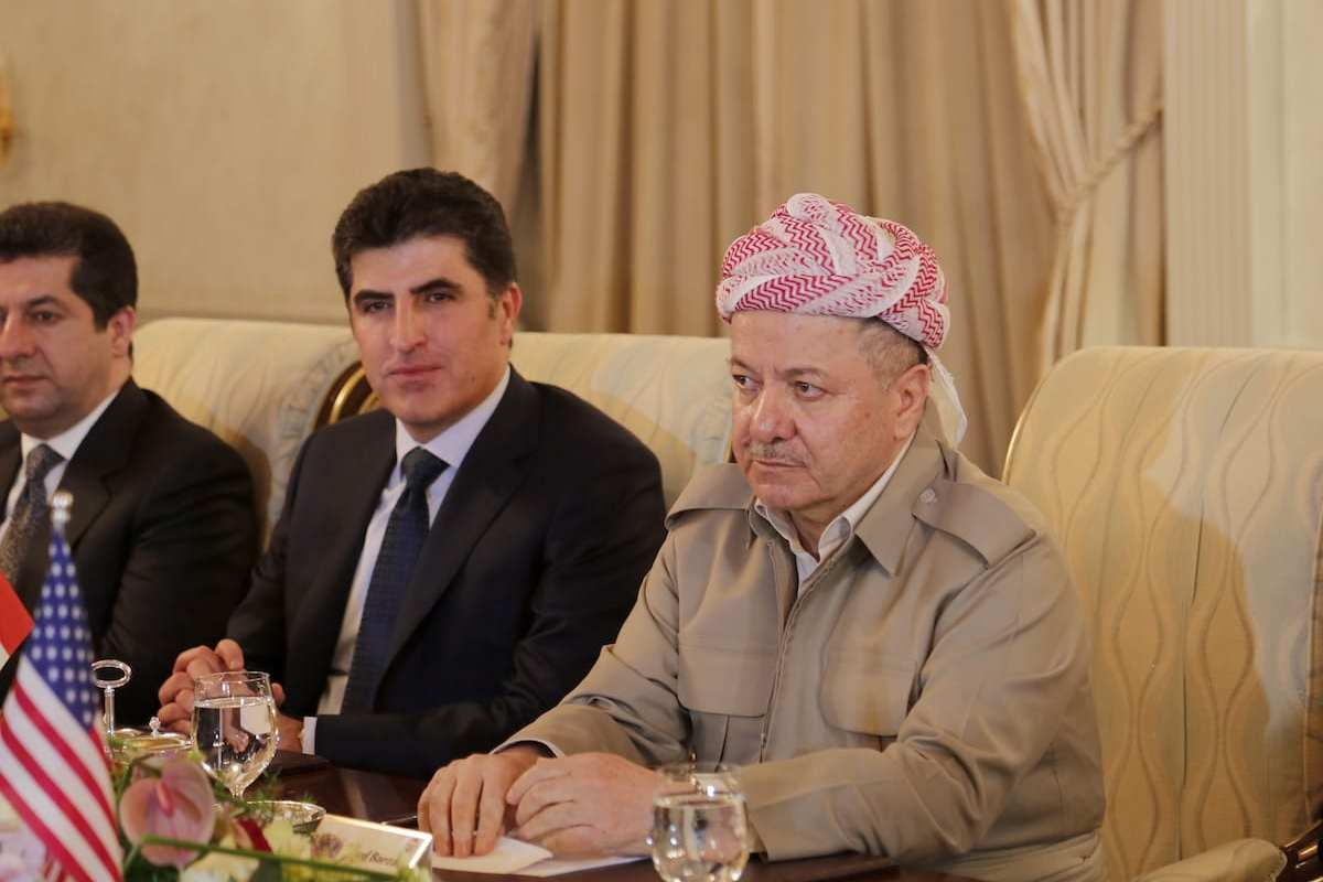 President of Iraqi Kurdish Regional Government (IKRG) Masoud Barzani (R) in Erbil, Iraq on 4 April 2017 [Yunus Keleş/Anadolu Agency]