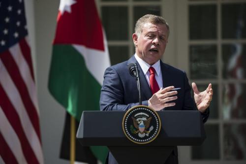 King Abdullah II Bin Al-Hussein of Jordan speaks during a press conference on April 5, 2017 [Samuel Corum/Anadolu Agency]