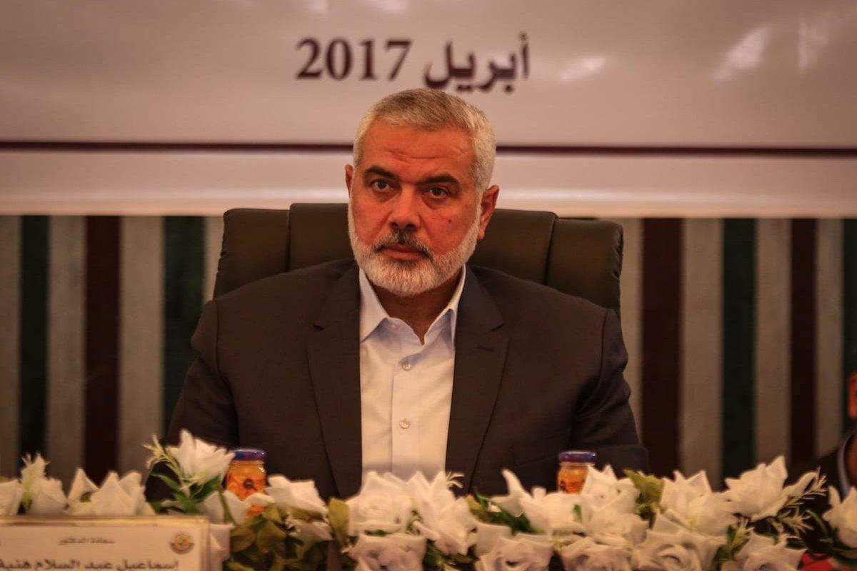 Ismail Haniyeh, Head of Hamas Political Bureau, on 10 April, 2017 [Ali Jadallah/Anadolu Agency]