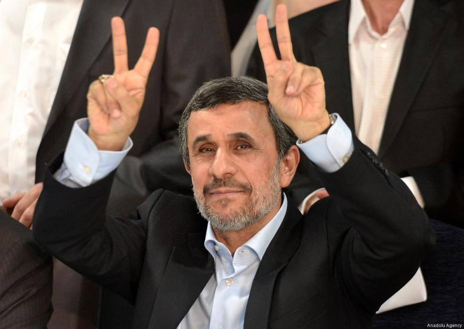 Former Iranian president Mahmoud Ahmadinejad in Iran, during the Iranian elections on 14 April 2017