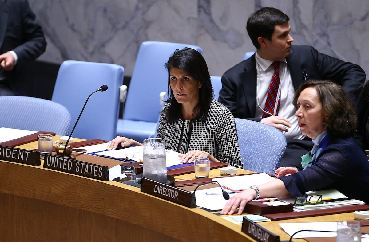 US Ambassador to the UN Nikki Haley (L) attends a meeting that gathered to hold a vote on a resolution condemning April 4 chemical attack in Syria's Idlib on April 12, 2017 at UN Headquarters in New York City, United States [Volkan Furuncu / Anadolu Agency]