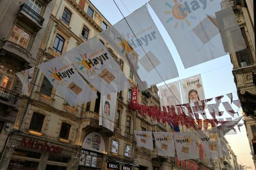 """No"" banners are seen hanging outside the main CHP opposition party's building on İstiklal Caddesi, central İstanbul. on 14 April 2017. [Image by Tallha Abdulrazaq / Middle East Monitor]"
