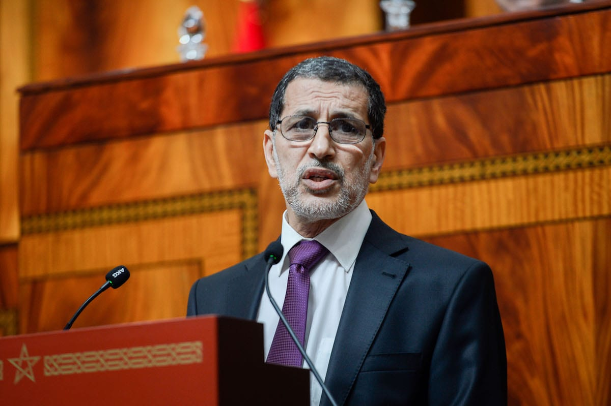 Prime Minister of Morocco Saadeddine Othmani (C) speaks during a session at the Moroccan Assembly in Rabat, Morocco on 19 April, 2017 [Jalal Morchidi/Anadolu Agency]