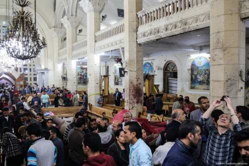 People are seen at the damaged Saint George church after a bombing struck inside the church in Egypt on April 9, 2017. (İbrahim Ramadan/Anadolu Agency)