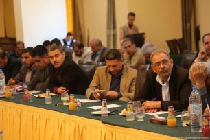Image of writers and analysts during Salah Bardawil's press conference on 25 April 2017 [Mohammed Asad/Midde East Monitor]