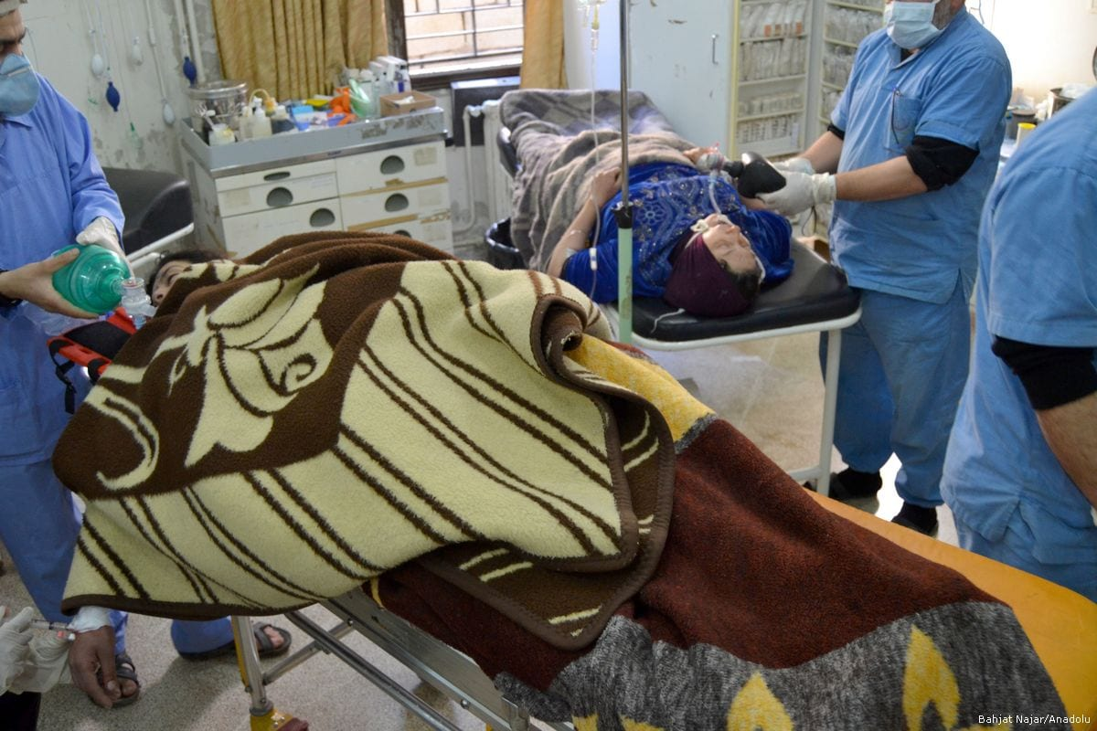 Civilians receive treatment after Assad Regime forces carried out a chemical attack in Idlib, Syria on 4 April 2017 [Bahjat Najar/Anadolu Agency]