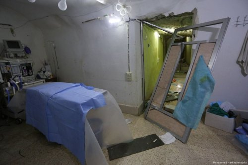 An interior view of a hospital after it was hit by airstrike carried out by the Assad Regime in Idlib, Syria on 4 April 2017 (Mohammed Karkas/Anadolu)