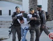 Israeli forces arrest a Palestinian in Jerusalem at a protest showing solidarity with the 1,500 Palestinian prisoners on hunger strike in Israeli prisons, April 30, 2017
