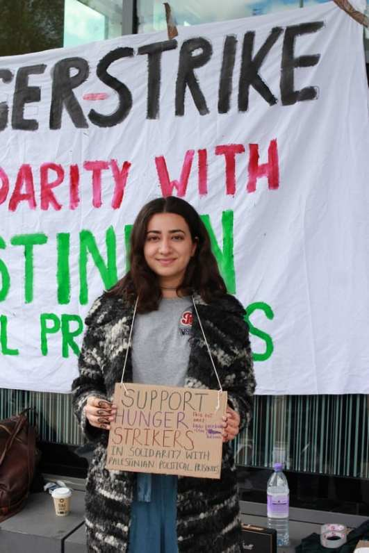 Day 1 of the hunger strike organised by students at Manchester University in solidarity with Palestinian political prisoners, on 27 April 2017. [Image: Huda Ammori]