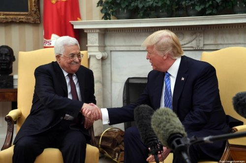 US President Donald Trump meets with Palestinian President Mahmoud Abbas in the White House on May 3, 2017 in Washington, DC. [Thaer Ganaim/Apaimages]