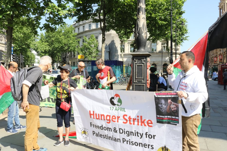 London joins Europe-wide solidarity hunger strike on 24, May, 2017 [Jehan AlFarra/Middle East Monitor]